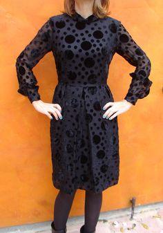 Vintage 60s Cut Velvet Polka Dots Little BLACK by SweetPickinsShop, $54.00