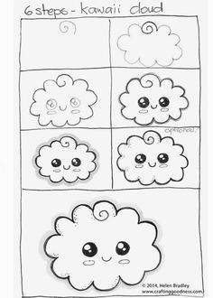 step by step how to draw a kawaii cloud learn to draw Kawaii Drawings, Doodle Drawings, Doodle Art, Easy Drawings, Kawaii Doodles, Cute Doodles, Drawing Lessons, Dessiner Homer Simpson, Griffonnages Kawaii