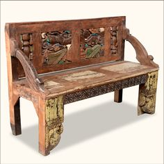 reclaimed wood hand carved framed back patio garden bench hand