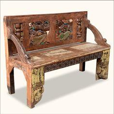 Mediterranean Hand Carved Old Wood Framed Back Garden Bench