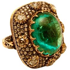 Incredible BUCCELLATI Emerald & Diamond Ring | From a unique collection of vintage cocktail rings at https://www.1stdibs.com/jewelry/rings/cocktail-rings/