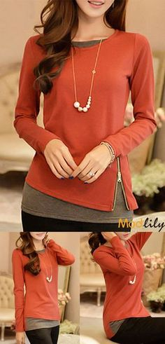 Long Sleeve Faux Two Piece T Shirt On Sale At Modlily. Patchwork and  coloring. Fashion and comfortable. Modlily satisfied you all about fashion. 2e01cf771032