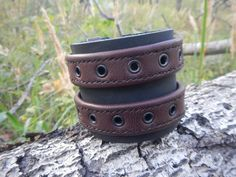 Wide leather bracelet with two straps and buckles by RozaBracelets