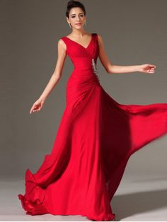 A-line V-neck Chiffon Prom Dresses #QA794