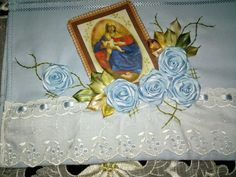 LOY HANDCRAFTS, TOWELS EMBROYDERED WITH SATIN RIBBON ROSES: NOSSA SENHORA DO PERPETUO SOCORRO