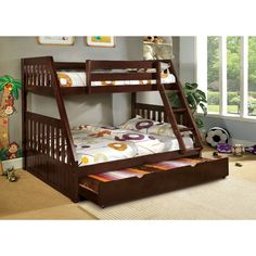 Balan Twin over Full Bunk Bed with Trundle (Espresso Finish), Brown