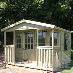 Traditional chalet style summer house with a wide verandah - enjoy the summer in our spacious Tonbridge Chalet Wooden Summerhouse! Outdoor Rooms, Outdoor Living, Farmhouse Sheds, Farmhouse Garden, Gym Shed, Posh Sheds, Brick Shed, Summer Cabins, Summer Houses