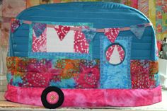 Vintage Caravan Sewing Machine Cover in Jewel Tones made with pattern by Janine