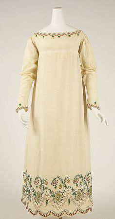 1804-15 dress, Austrian. The Met, C.I.39.13.52. [The embellishment is beading, not embroidery. The dress material is almost positively wool.] [ETA: Now zooming extremely close, and I believe it is linen, not wool.]
