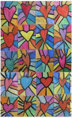 Some results from art lessons - Schule Am Lindenberg - art education lessons - Muttertag Group Art Projects, School Art Projects, Art Education Lessons, Art Lessons Elementary, Valentines Art Lessons, Square One Art, Classe D'art, Kindergarten Art Projects, Rainbow Art