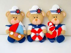 FELTRO ENCANTADO: Ursinhos do Gustavo (◠‿◠)                                                                                                                                                                                 Mais Sailor Baby Rooms, Sailor Baby Showers, Sea Crafts, Diy And Crafts, Felt Ornaments, Christmas Ornaments, Baby Painting, Felt Wreath, Felt Decorations