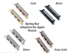 Listing is for a pair of Spring Bar Adapters compatible with Apple Watch & The adapter fits band. The adapter fits band. Apple Watch Bands, Apple Watch Series, Bracelet Rose Gold, Apple Watch Silver, Apple Watch Fashion, Black Necklace, Silver Roses, Black Silver, Etsy