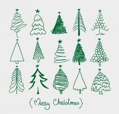 More Christmas tree sketches. Easy and fun addition to this year's Christmas card envelopes! Christmas Tree Sketch, Christmas Doodles, Noel Christmas, All Things Christmas, Winter Christmas, Christmas Ornaments, Green Christmas, Christmas Tree Drawing Easy, Christmas Tree Graphic