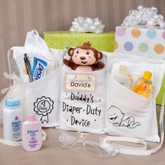 Daddy's Diaper Duty Device - Baby Shower Gift Idea for the New Daddy. Or DIY with a tool holder/apron from Home Depot!