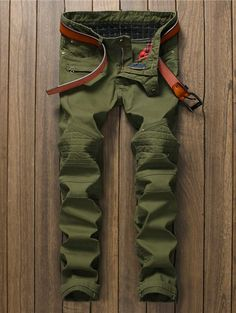 Pocket Rivet Zippered Panel Straight Pants   NastyDress.com
