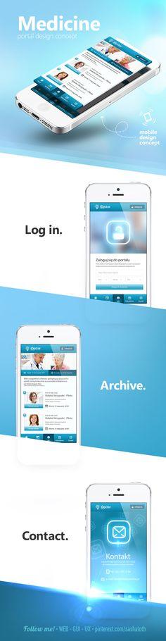 Medicine portal design concept by Jarek Pastuszak *** Mobile Ui Design, App Ui Design, User Interface Design, Portal Design, Ios, Ui Design Inspiration, User Experience Design, Software, Android