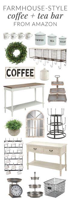 Farmhouse-Style Coffee and Tea Bar All From Amazon