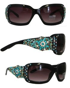 6b3fa30535 UV400 Sunglasses Rhinestones Floral Concho Over Beads - Black - CP11M7E5RMF  - Women s Sunglasses