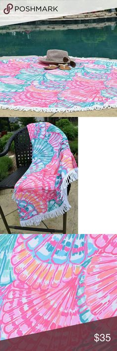 Lilly Pulitzer inspired 60 inch Round Beach Towel Brand new, never used, Lilly style Shell pattern 60 inch round beach towel with white fringe. Accessories Scarves & Wraps