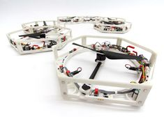 The Distributed Flight Array (DFA) has been developed by a team of researchers at the Institute for Dynamic Systems and Control (IDSC) at ETH Zürich university in Switzerland.  Each robot has a 3D-printed hexagonal plastic chassis with magnets fixed to the sides of the frame and a single propeller fitted in the middle.