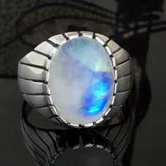 925 Sterling Silver Ring Rainbow Moonstone Unique Handmade Mens Jewelry US11 #Handmade #Solitaire