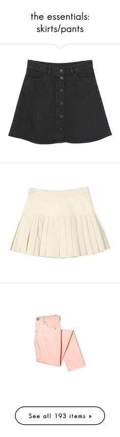 """the essentials: skirts/pants"" by via-m ❤ liked on Polyvore featuring viamstyle, skirts, bottoms, black knee length skirt, flared skirt, black skirt, black denim skirt, flare skirt, mini skirts и faldas"