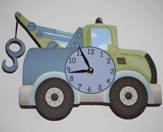 Tow Truck Transportation Boys Wooden WALL CLOCK for by ToadAndLily, $45.00 get it in red?