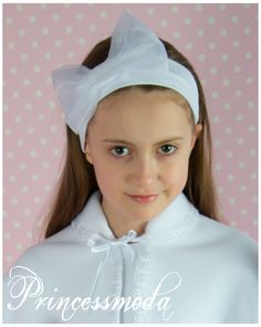 EM-84 Auffallend und wunderschön! Stirnband in Weiß! - Princessmoda - Alles für Taufe Kommunion und festliche Anlässe