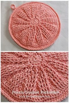Peach Crochet Potholder: Free crochet pattern with photo tutorial in each step.