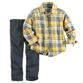 Classic and cute for your little guy, this 2-piece set features a plaid flannel button-front and canvas pants for an easy school-day style.