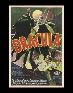 "11 X 14""  canvas art print~   Dracula_1931_Dracula, by Carl Laemmle - Vintage Horror Movie Poster by justartrageous3 on Etsy"