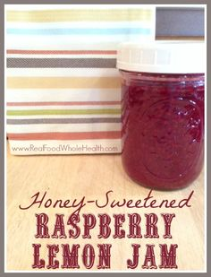 A super simple, 3 ingredient, real food recipe for honey-sweetened raspberry lemon jam that's ready in 15 minutes, no canning necessary!