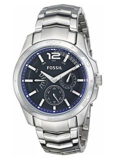 Fossil Men's Multifunction Stainless Steel Bracelet with Blue Dial Best Watches For Men, Cool Watches, Wrist Watches, Fossil Jewelry, Jewelry Watches, Stainless Steel Jewelry, American Jewelry, Casio Watch, Omega Watch