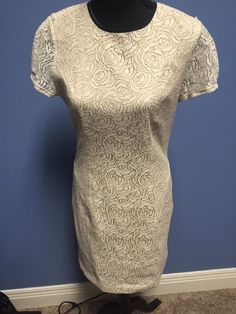 L'Agence 100 PUR Amour Made in The USA Taupe Linen Lace Dress Women's 8 | eBay