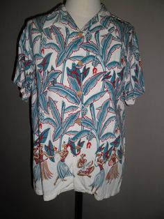 c6cbf6934 Vintage 90's , Fantastic Waimea Casuals Hawaiian Rayon Shirt ,Design  Dancers,Musicians & Banana Trees, Size L,Made in China ,Excellent State