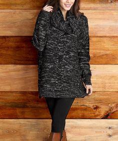 Look at this #zulilyfind! Black Marble Knit Cowl Neck Sweater #zulilyfinds