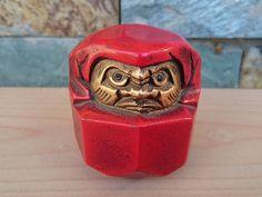 Vintage Brass Red Daruma Doll by CecysAsianShop on Etsy
