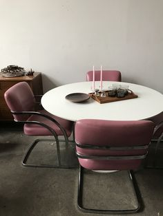 1970s Milo Baughman Pink and Chrome Chairs-A pair —