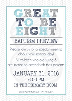 Are you planning your ward's Baptism Preview? Here is a FREE invitation printable from Little LDS Ideas that you can edit and use.