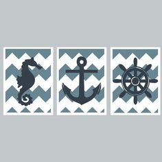 Nautical Nursery Room Set - Chevron Kids Wall Art - Seahorse, Anchor, Helm - Blue Decor - DIY Pritable 5x7 Digital Files