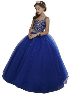 1721994aeee HuaMei Girls Princess Tulle Beaded Straps Ball Gowns Flower Girl Pageant  Dresses 6 US Royal Blue
