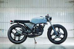 Beautiful custom honda mbx. It looks like damn cafe racer! #cafe #racer #honda #mbx #moped #motorcycle #motor #prolink #80cc #50cc #wrapped #exhaust #offroad #scrambler #liquid #cooled