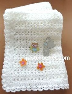 Free baby crochet pattern for shawl with cluster edge http://www.justcrochet.com/shawl-cluster-usa.html #justcrochet