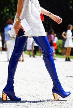 Dior Boots 2015 #blue #thighhigh  #fashioninthestreets