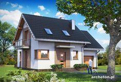 Projekt domu Romek - ładny dom do 100 m2, z użytkowym poddaszem i z garażem beton komórkowy - Archeton.pl