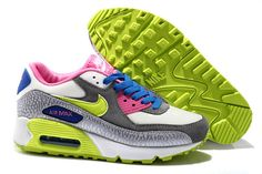 Women's Nike Air Max 90 Sneaker Shoes A  Jogging Shoes Gray Purple Red Fluorescent Green|only US$89.00 - follow me to pick up couopons.