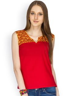100% COTTON SELEVLESS RED SOLID BODY WITH PRINTED YOKE DETALING    - See more at: http://www.namakh.com/FUSION-TOP/RED-PRINTED-TOP-id-1172197.html#sthash.Texxekp1.dpuf