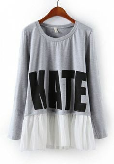 Grey Blending Round Neck Long Sleeve Letters Tops
