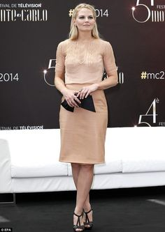 Nude ambition: Jennifer Morrison looks chic in a pale beige sheer blouse, cami and matching skirt at the 54th Monte-Carlo Television Festival