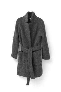 Fenn Wrap Coat, Smoked Pearl Melange